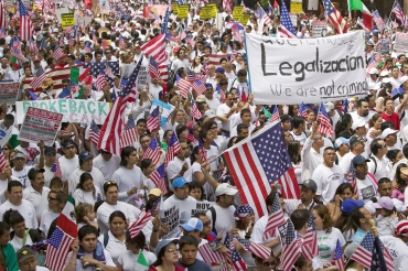 Hundreds of thousands of immigrants 2 participate in march for Immigrants and Mexicans protesting against Illegal Immigration reform by U.S. Congress, Los Angeles, CA, May 1, 2006