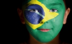 Brazil flag face paint