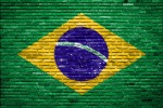 brazil flag -- brick wall