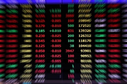 Share market prices shown on an