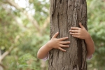 environment - child hugging tree