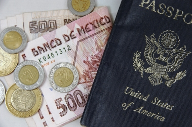 Passport and Mexican Pesos