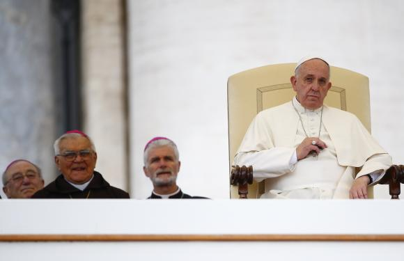 Pope Francis leads his weekly general audience in Saint Peter's Square at the Vatican