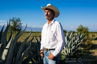 Alfonso Gonzalez stands on his ranch, near Cuatro Ciénegas in Mexico's Coahuila state. Gonzalez is a cattle farmer who actively participates in conservation initiatives around Cuatro Cienegas. In one effort, a  well on his property (named Poza Escobedo, pictured) was restored to its original state, leading the area around it to regenerate its humidity and lush flora and fauna.