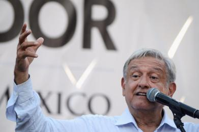 Mexico's President-elect Andres Manuel Lopez Obrador speaks during a rally as part of a tour to thank supporters for his landslide victory in the July 1 election, in Mexicali
