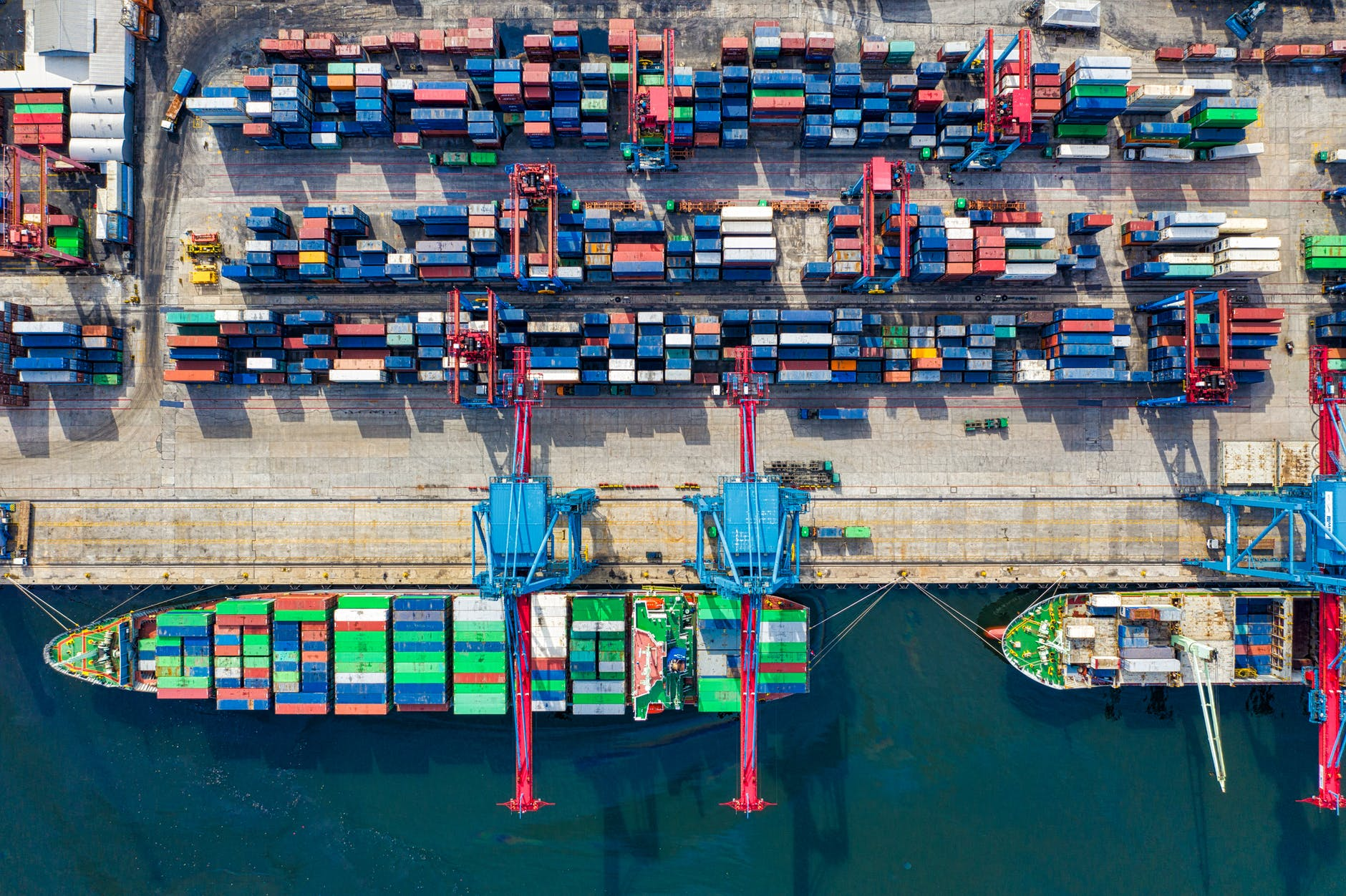 birds eye view photo of freight containers