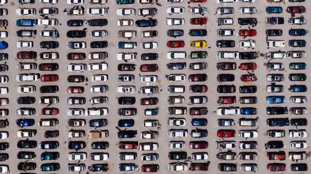 aerial view of parking lot
