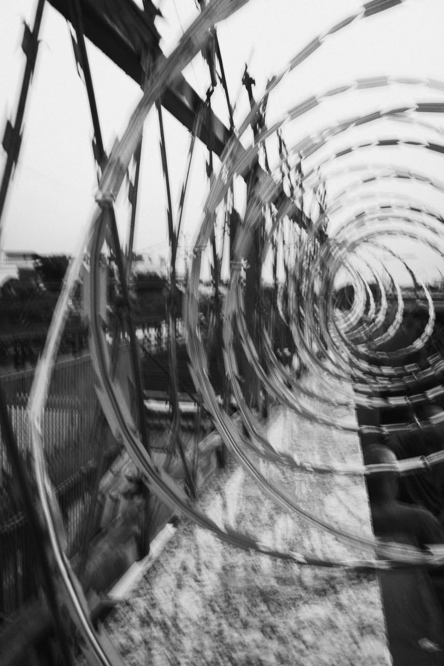 monochrome photo of barbed wires