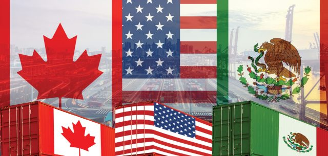 Concept of USMCA or the new NAFTA United States Mexico Canada ag